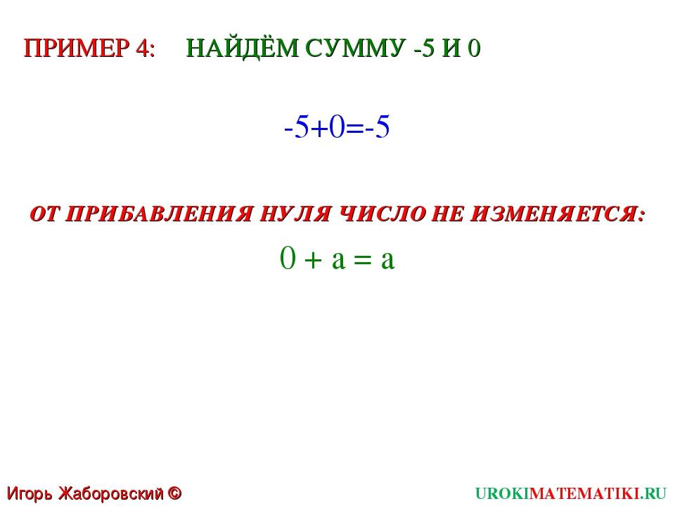 Игорь Жаборовский © 2011 UROKIMATEMATIKI.RU ПРИМЕР 4: НАЙДЁМ СУММУ -5 И 0 -5+...