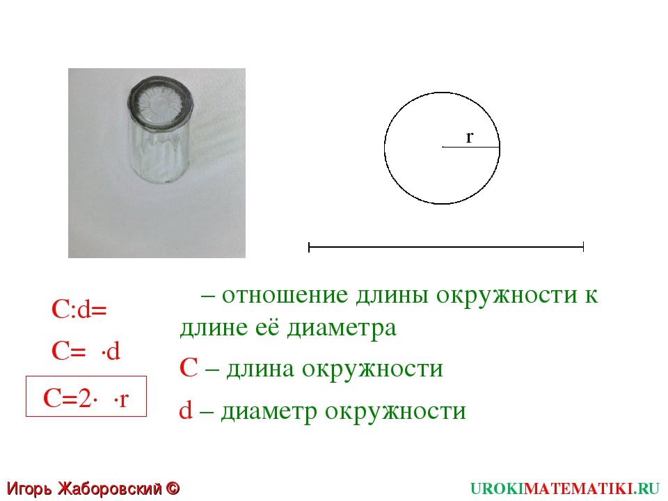 Игорь Жаборовский © 2011 UROKIMATEMATIKI.RU r  – отношение длины окружности...