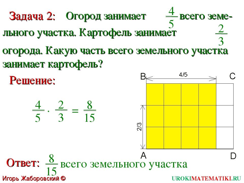 Игорь Жаборовский © 2011 Задача 2: Огород занимает 4 5 льного участка. Картоф...