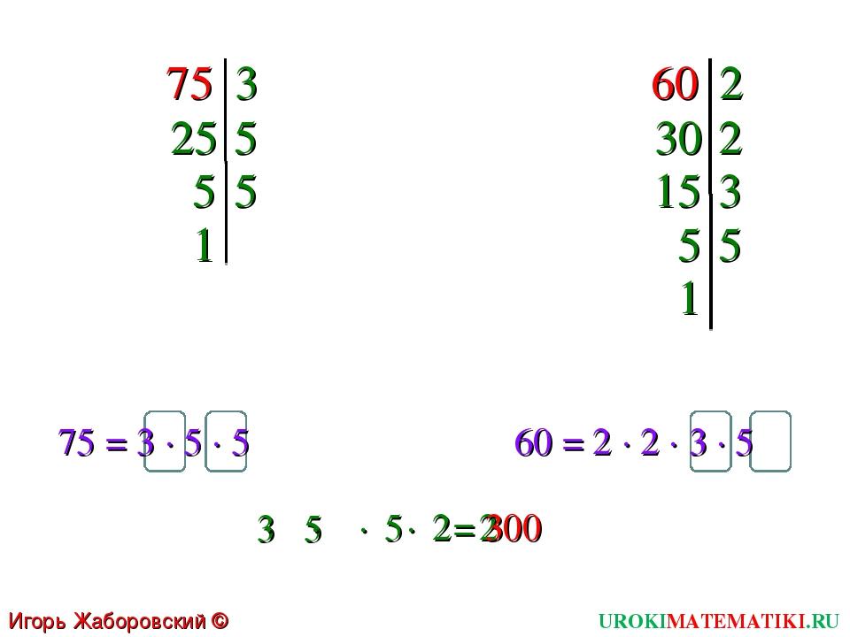 75 Игорь Жаборовский © 2011 3 25 5 5 5 1 60 2 30 2 15 3 5 5 1 75 = 3 ∙ 5 ∙ 5...