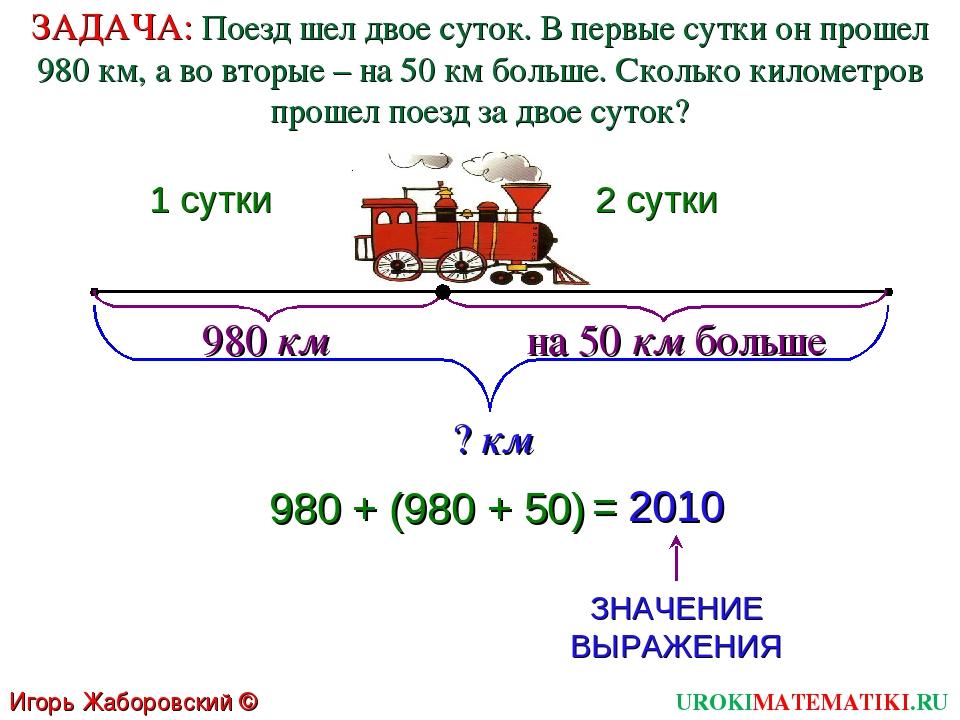 1 сутки 2 сутки 980 км на 50 км больше ? км 980 + (980 + 50) = 2010 ЗНАЧЕНИЕ...