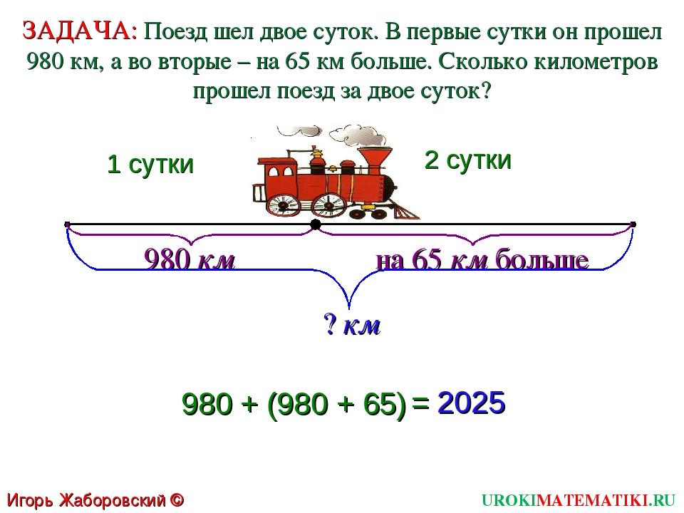 1 сутки 2 сутки 980 км на 65 км больше ? км 980 + (980 + 65) = 2025 Игорь Жаб...