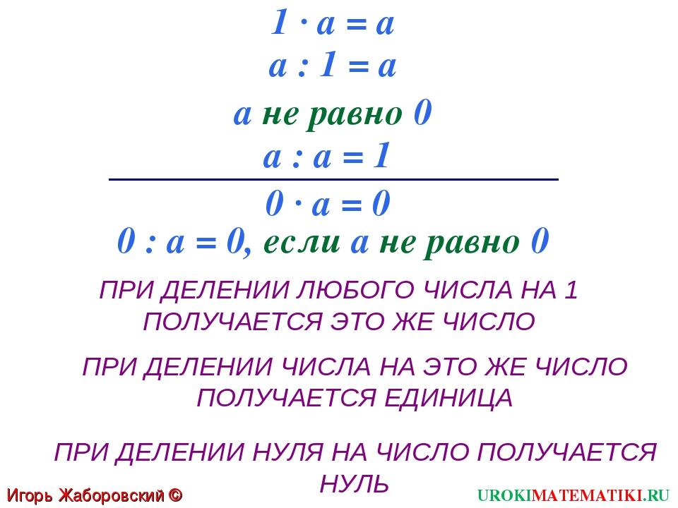1 · а = а а : 1 = а а не равно 0 а : а = 1 0 · а = 0 0 : а = 0, если а не рав...