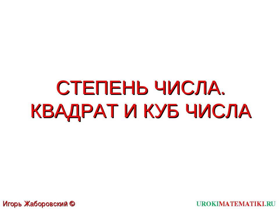 СТЕПЕНЬ ЧИСЛА. КВАДРАТ И КУБ ЧИСЛА UROKIMATEMATIKI.RU Игорь Жаборовский © 2011