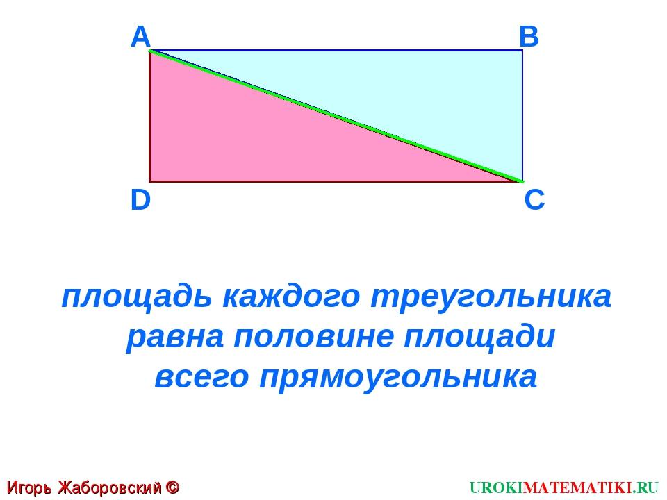 D A B C площадь каждого треугольника равна половине площади всего прямоугольн...