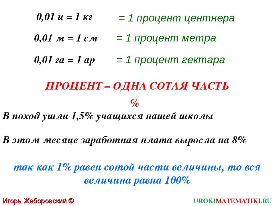 UROKIMATEMATIKI.RU Игорь Жаборовский © 2011 0,01 ц = 1 кг В поход ушли 1,5% у...