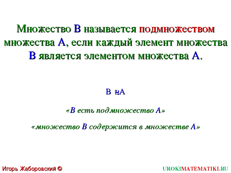 UROKIMATEMATIKI.RU Игорь Жаборовский © 2011 Множество В называется подмножест...