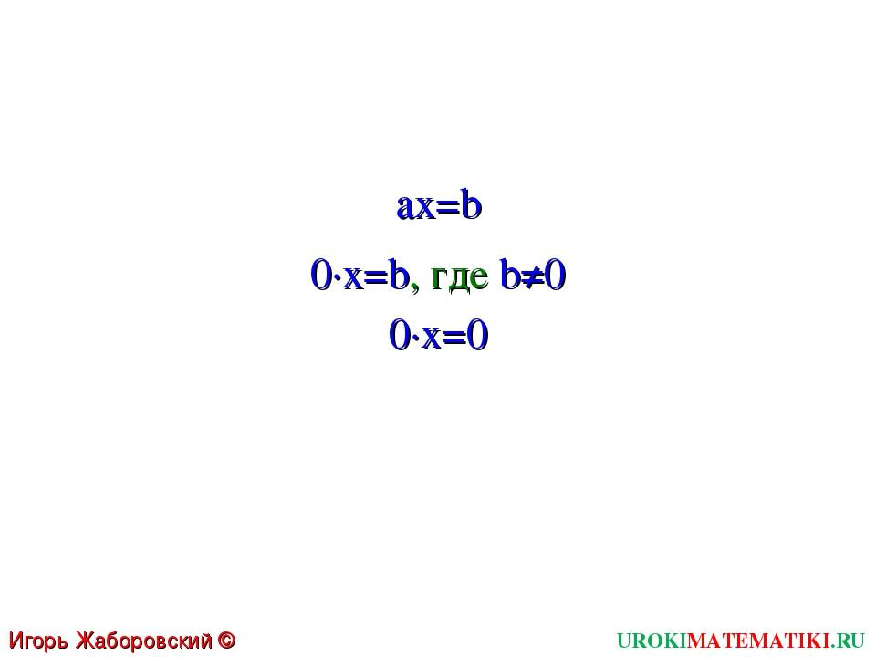 UROKIMATEMATIKI.RU Игорь Жаборовский © 2011 ax=b 0∙x=b, где b≠0 0∙x=0