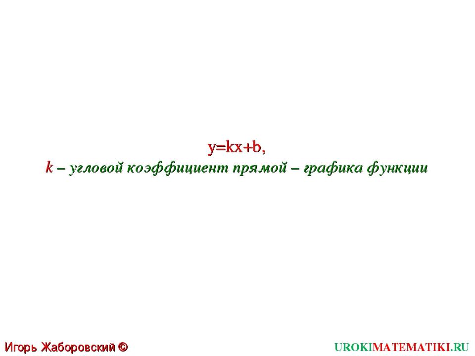 UROKIMATEMATIKI.RU Игорь Жаборовский © 2011 y=kx+b, k – угловой коэффициент п...