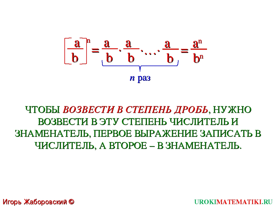 UROKIMATEMATIKI.RU Игорь Жаборовский © 2011 n раз a n = b a b ∙ a b ∙…∙ a b =...