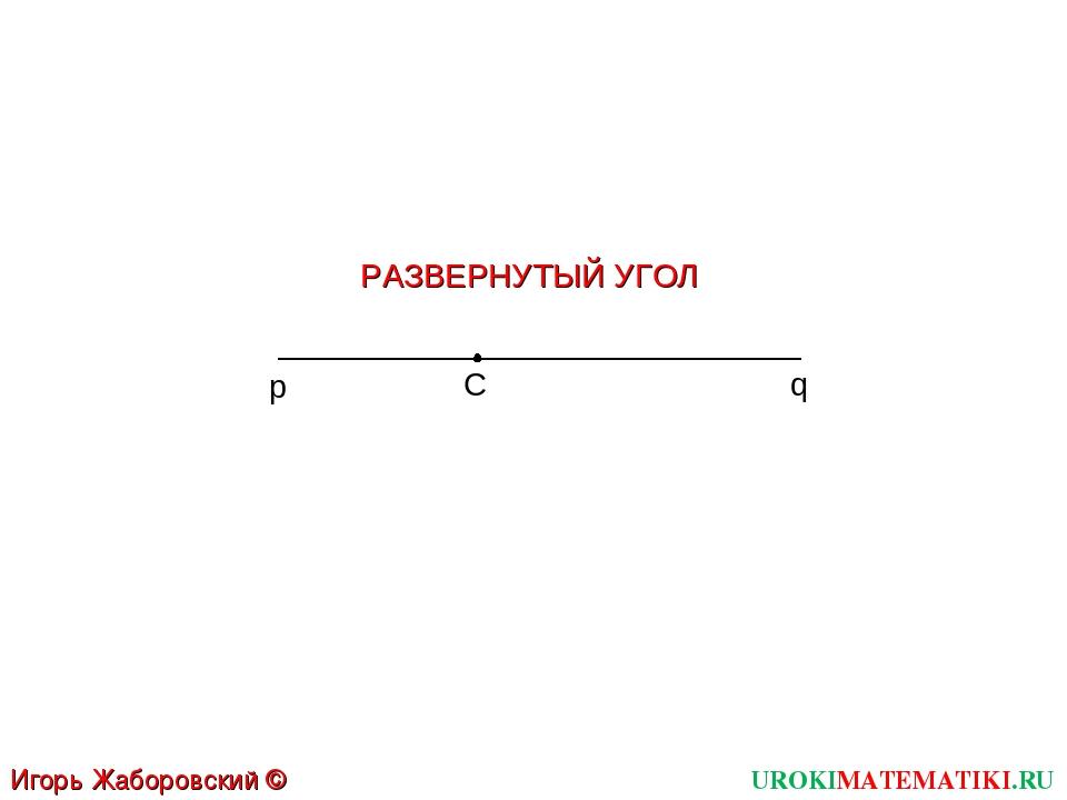 C p q РАЗВЕРНУТЫЙ УГОЛ UROKIMATEMATIKI.RU Игорь Жаборовский © 2011