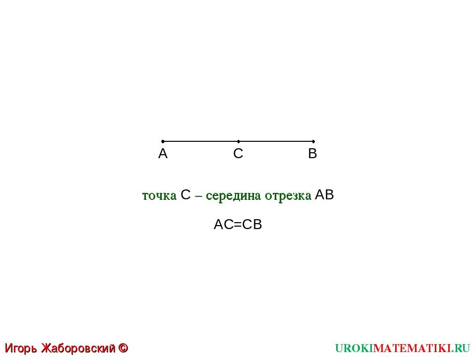 UROKIMATEMATIKI.RU Игорь Жаборовский © 2011 A B C AC=СB точка C – середина от...