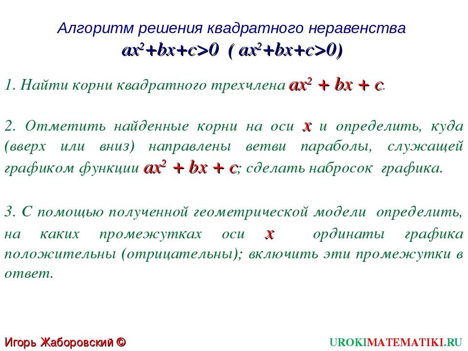 Алгоритм решения квадратного неравенства ax2+bx+c>0 ( ax2+bx+c>0) 1. Найти ко...