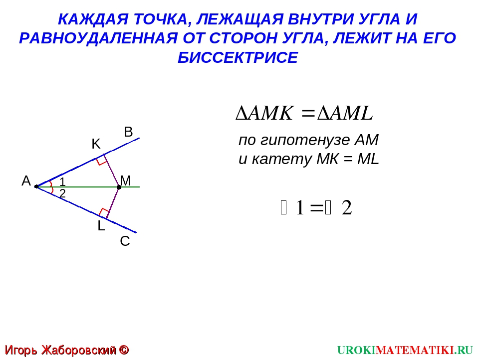 UROKIMATEMATIKI.RU Игорь Жаборовский © 2012 по гипотенузе АМ и катету МК = ML...