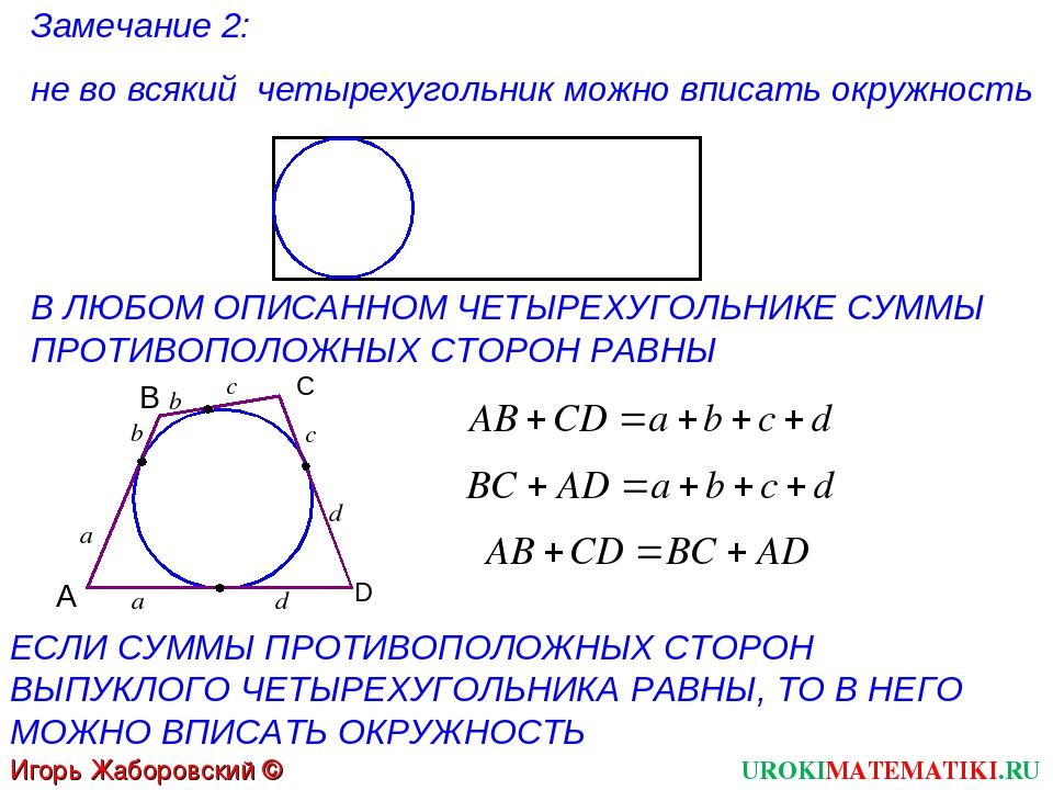 UROKIMATEMATIKI.RU Игорь Жаборовский © 2012 Замечание 2: не во всякий четырех...