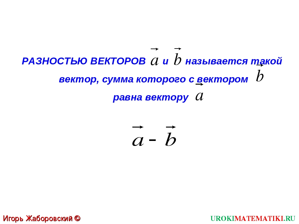 UROKIMATEMATIKI.RU Игорь Жаборовский © 2012 РАЗНОСТЬЮ ВЕКТОРОВ и называется т...