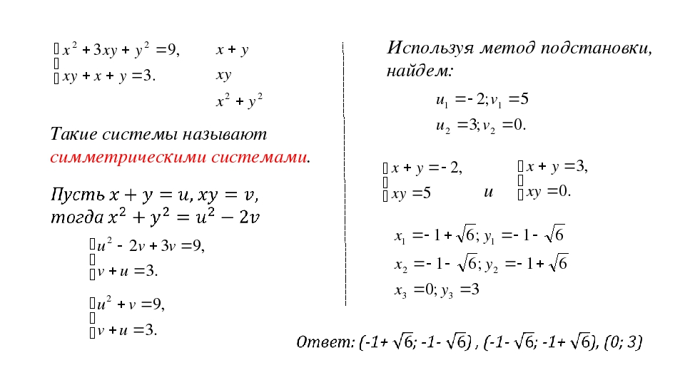 Такие системы называют симметрическими системами. Используя метод подстановки...