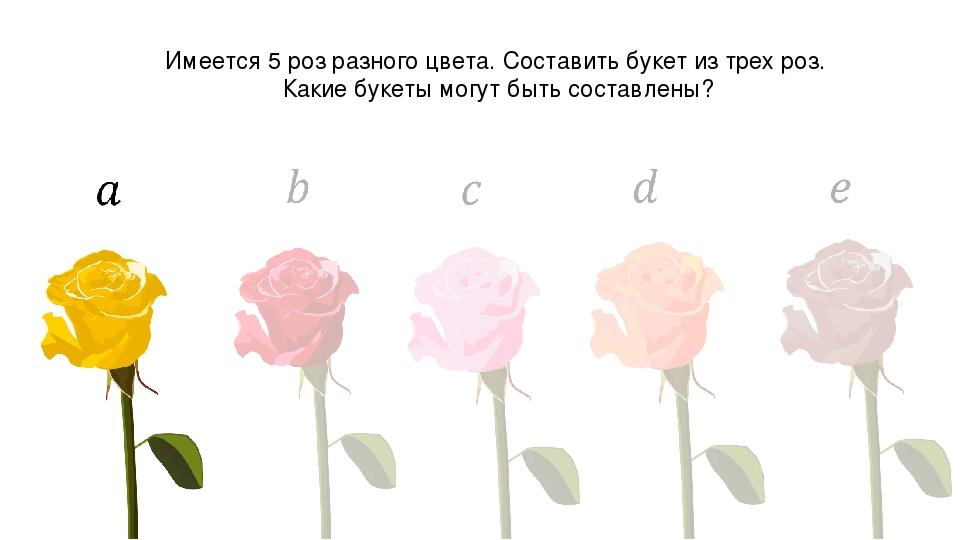Имеется 5 роз разного цвета. Составить букет из трех роз. Какие букеты могут...