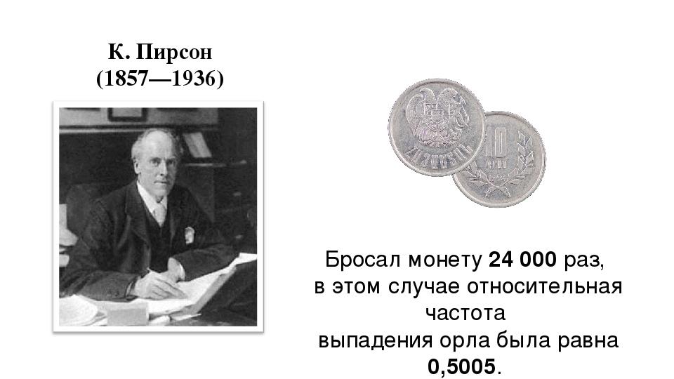 К. Пирсон (1857—1936) Бросал монету 24 000 раз, в этом случае относительная ч...