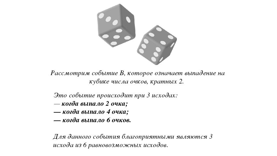 Рассмотрим событие B, которое означает выпадение на кубике числа очков, кратн...