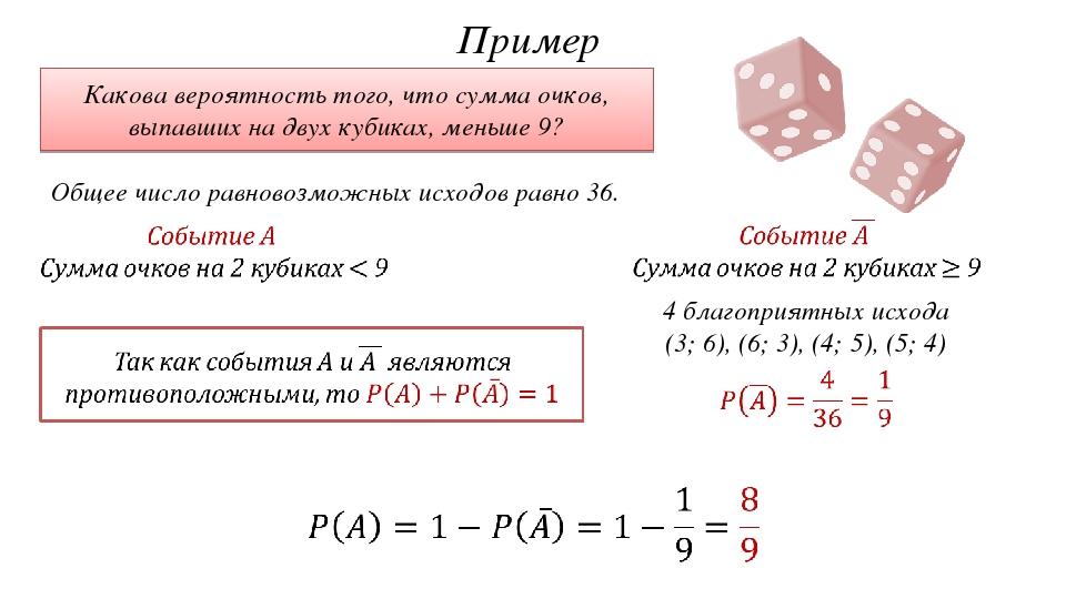 Пример Какова вероятность того, что сумма очков, выпавших на двух кубиках, ме...