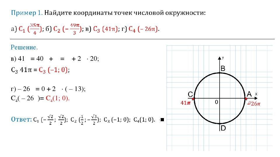 Решение. в) 41π = 40π + π = π + 2π ∙ 20; г) – 26π = 0 + 2π ∙ ( – 13); С4( – 2...