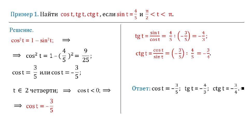 Решение. cos2 t = 1 – sin2 t; cos t < 0;