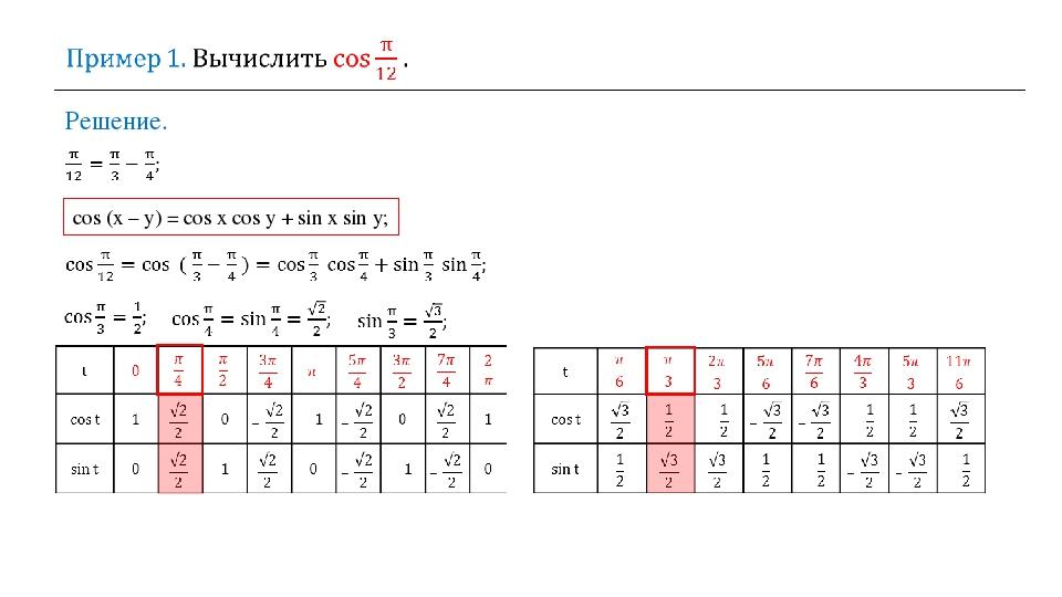 Решение. cos (x – y) = cos x cos y + sin x sin y;