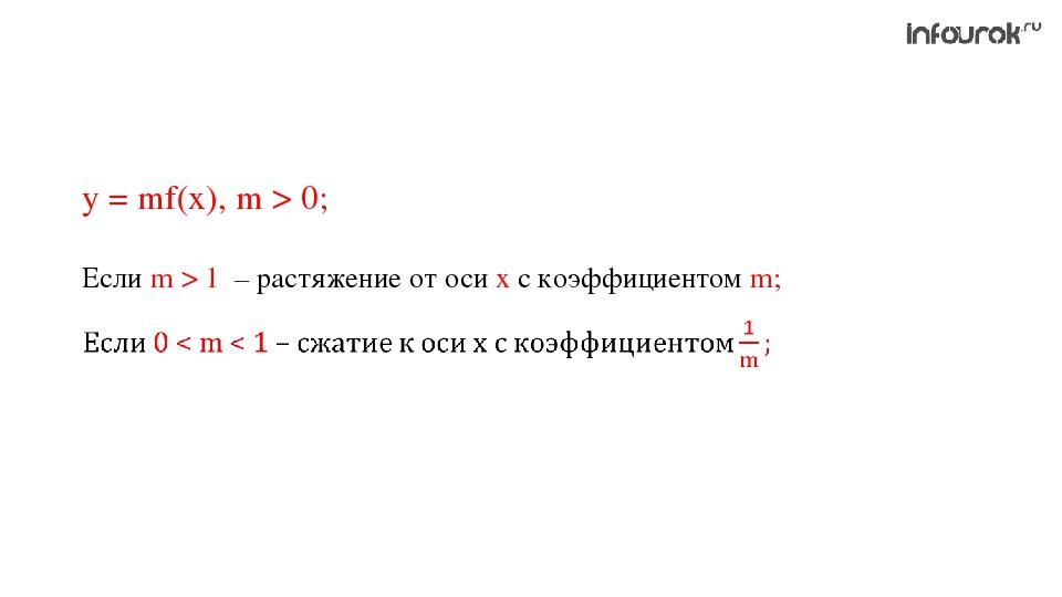 у = mf(x), m > 0; Если m > 1 – растяжение от оси х с коэффициентом m;