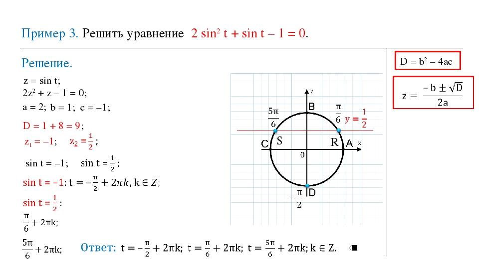 Пример 3. Решить уравнение 2 sin2 t + sin t – 1 = 0. Решение. z = sin t; 2z2...
