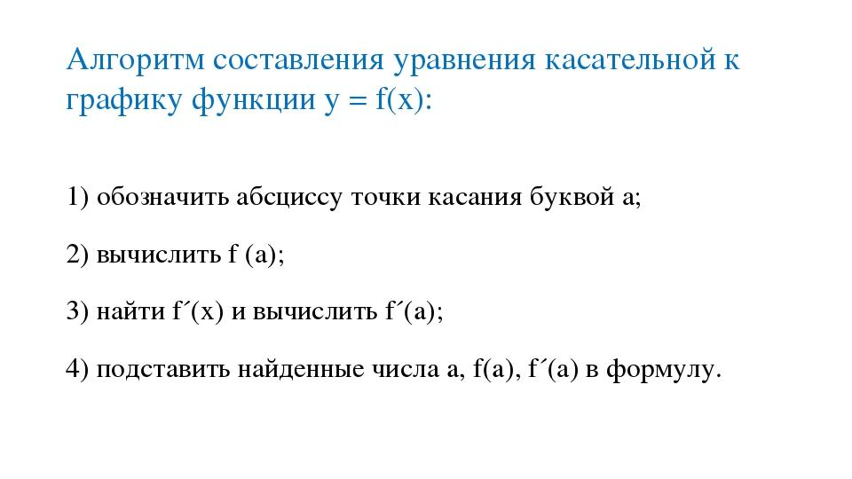 Алгоритм составления уравнения касательной к графику функции у = f(x): 1) обо...
