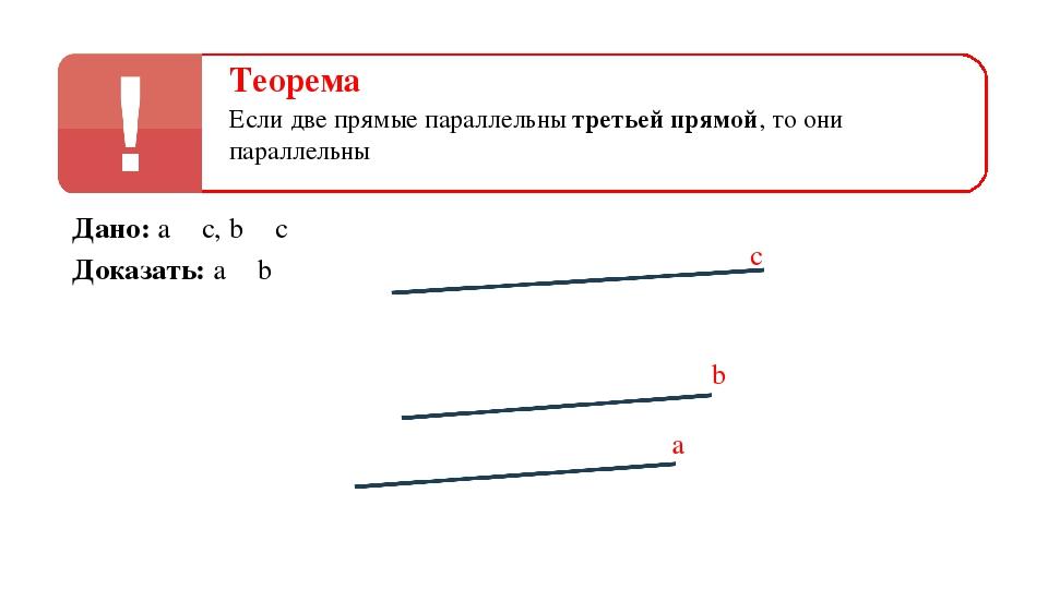 b a с Дано: a ‖ c, b ‖ c Доказать: a ‖ b Теорема Если две прямые параллельны...