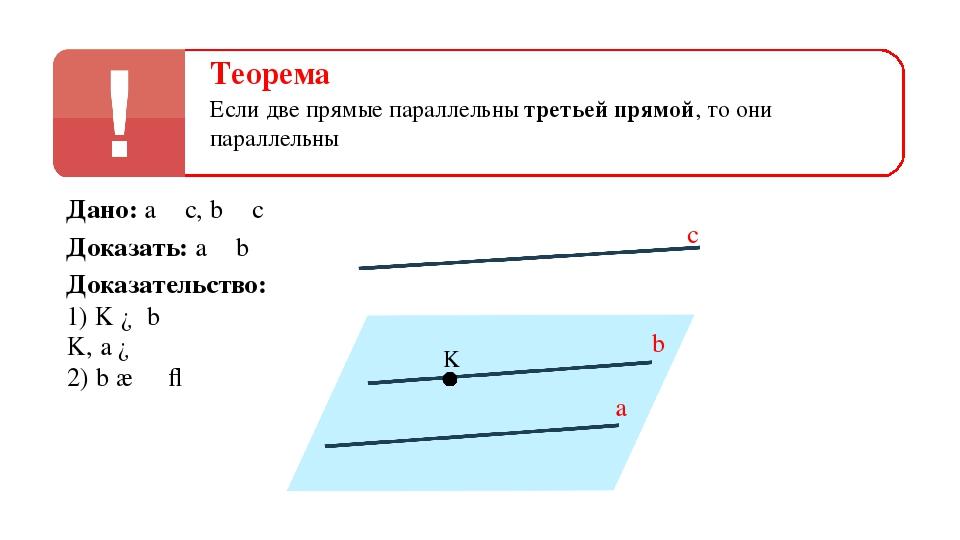 b a с α K Теорема Если две прямые параллельны третьей прямой, то они параллел...