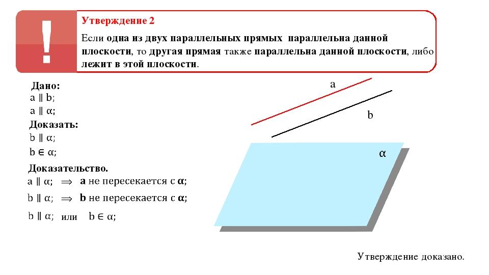 Утверждение 2 Если одна из двух параллельных прямых параллельна данной плоско...