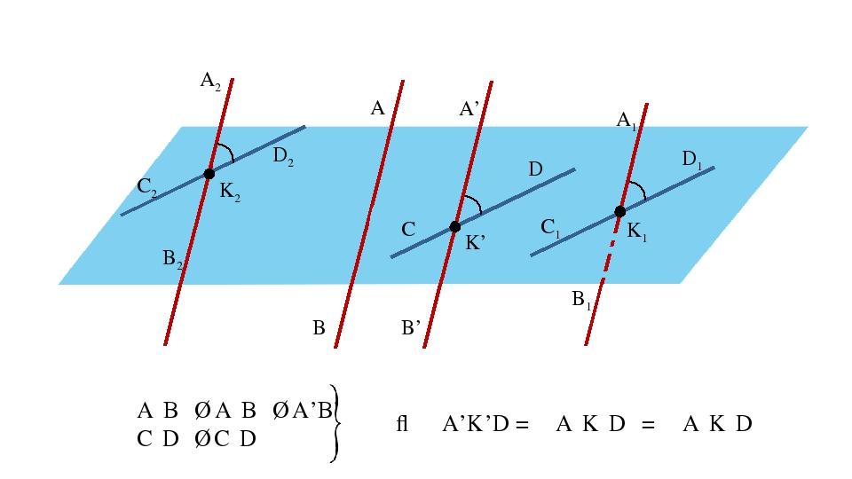 A B C D A1 B1 C1 D1 K1 K2 A2 B2 C2 D2 A' B' K' A₁B₁ ∥ A₂B₂ ∥ A'B' C₁D₁ ∥ C₂D₂...