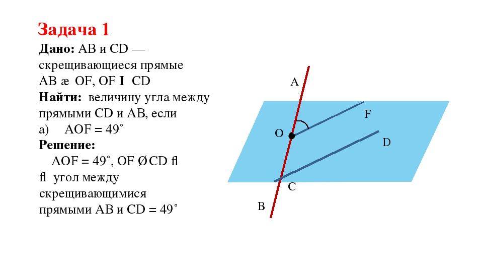 Задача 1 Дано: АВ и CD — скрещивающиеся прямые AB ∩ OF, OF ǁ CD Найти: величи...