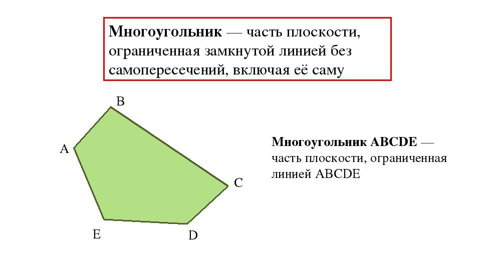 Многоугольник — часть плоскости, ограниченная замкнутой линией без самопересе...