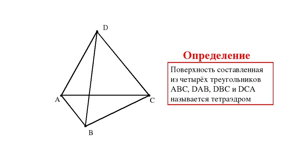 A B C D Поверхность составленная из четырёх треугольников АBC, DAB, DBC и DCA...