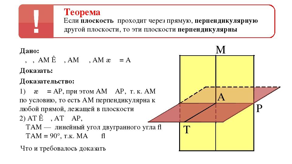 Теорема Если плоскость проходит через прямую, перпендикулярную другой плоскос...