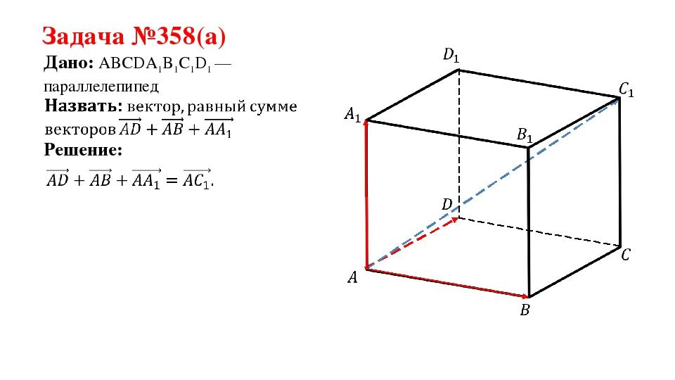 Задача №358(а) Дано: ABCDA1B1C1D1 —параллелепипед Решение: