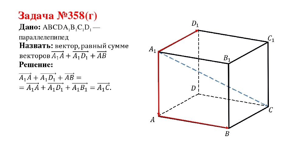 Задача №358(г) Дано: ABCDA1B1C1D1 —параллелепипед Решение: