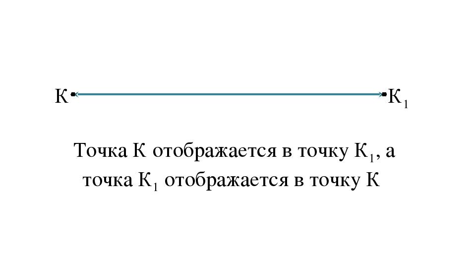 К К1  Точка К отображается в точку К1, а точка К1 отображается в точку К