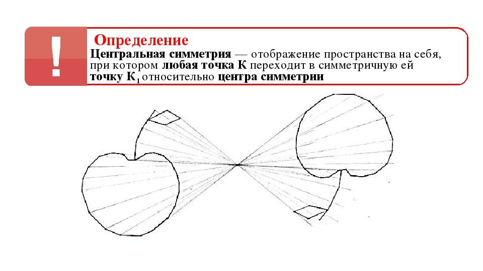 Определение Центральная симметрия — отображение пространства на себя, точку К...