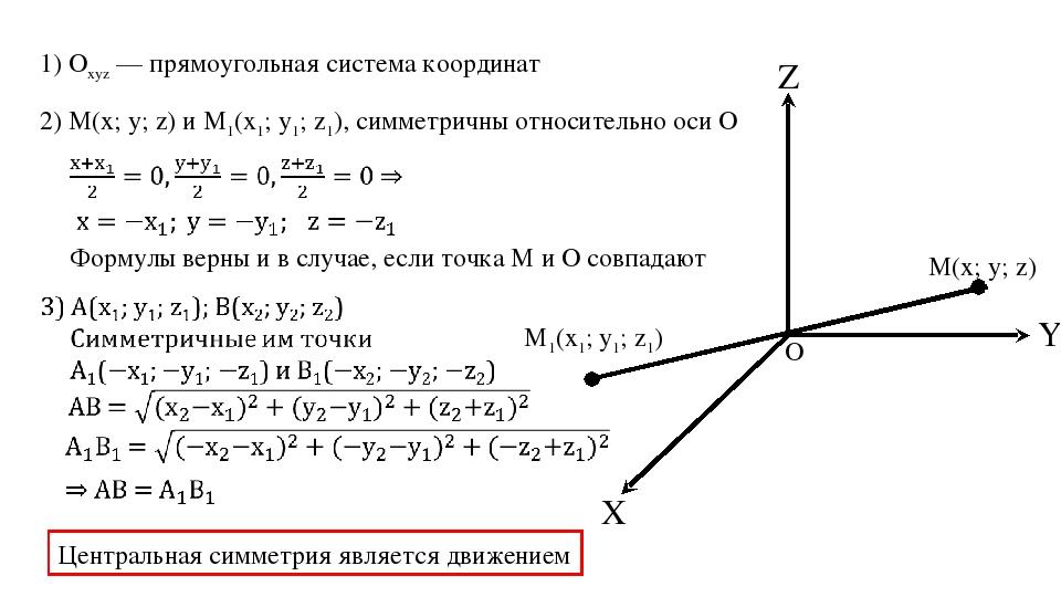 Z X Y 1) Оxyz — прямоугольная система координат 2) М(x; y; z) и M1(x1; y1; z1...