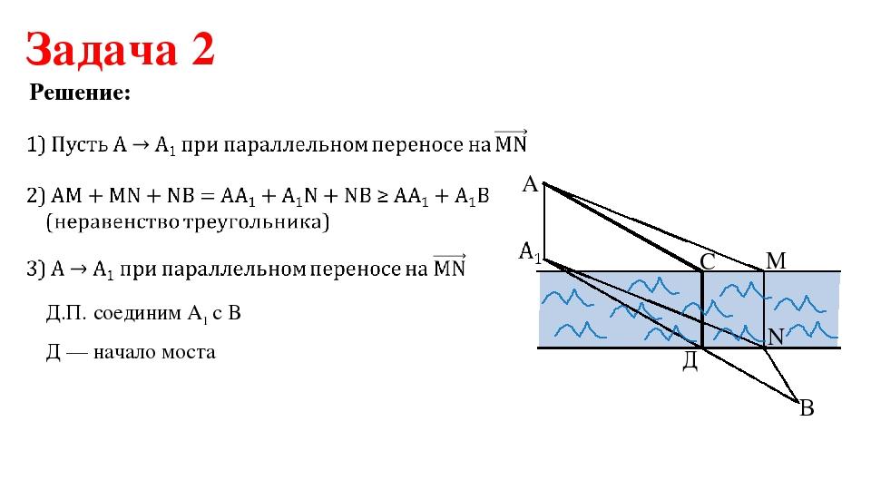 Задача 2 Решение: Д.П. соединим А1 с В Д — начало моста A C M N B Д