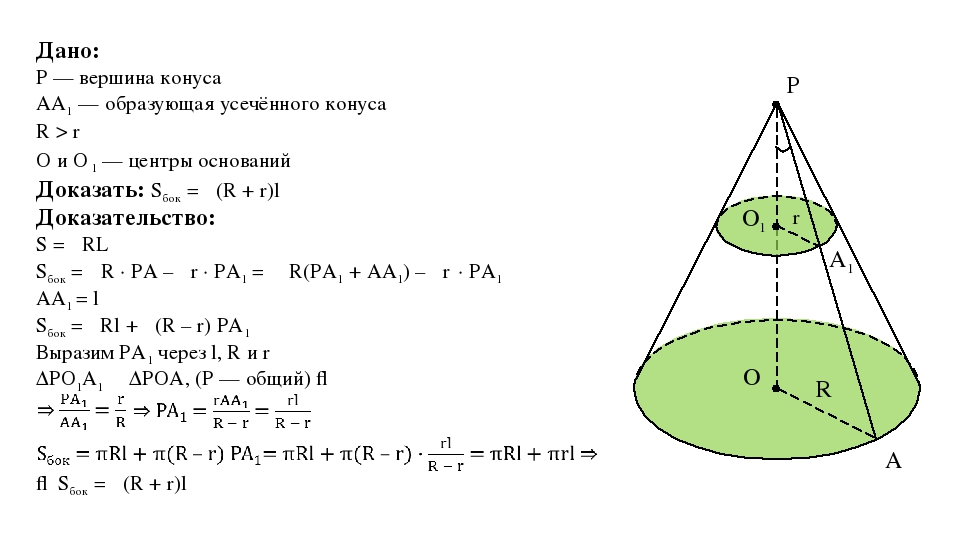 P r O O1 R Дано: P — вершина конуса AA1 — образующая усечённого конуса R > r...