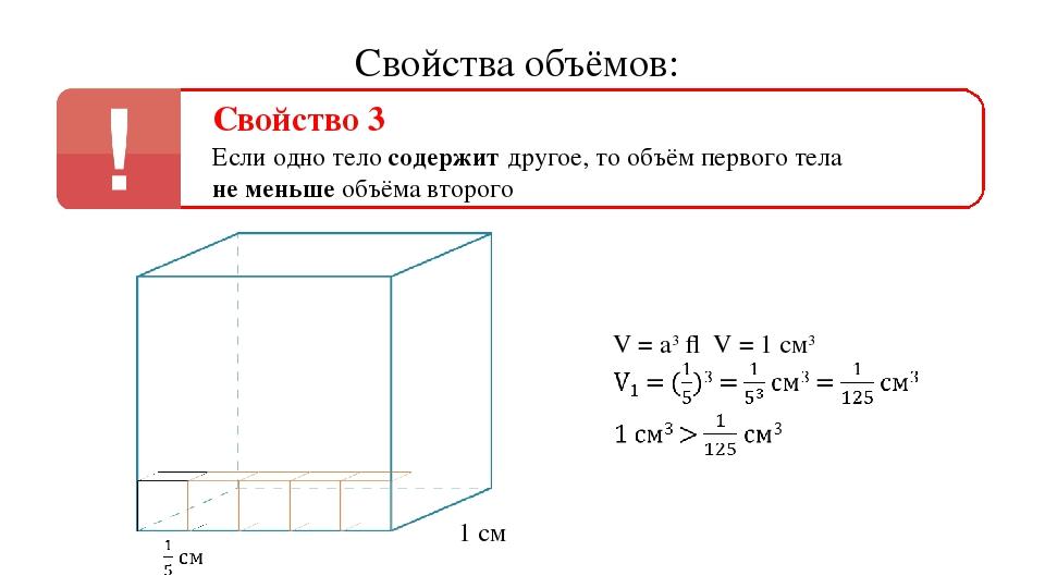 Свойства объёмов: Свойство 3 Если одно тело содержит другое, то объём первого...