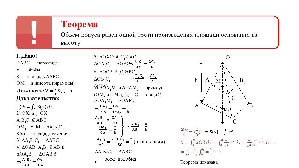 Теорема Объём конуса равен одной трети произведения площади основания на высо...