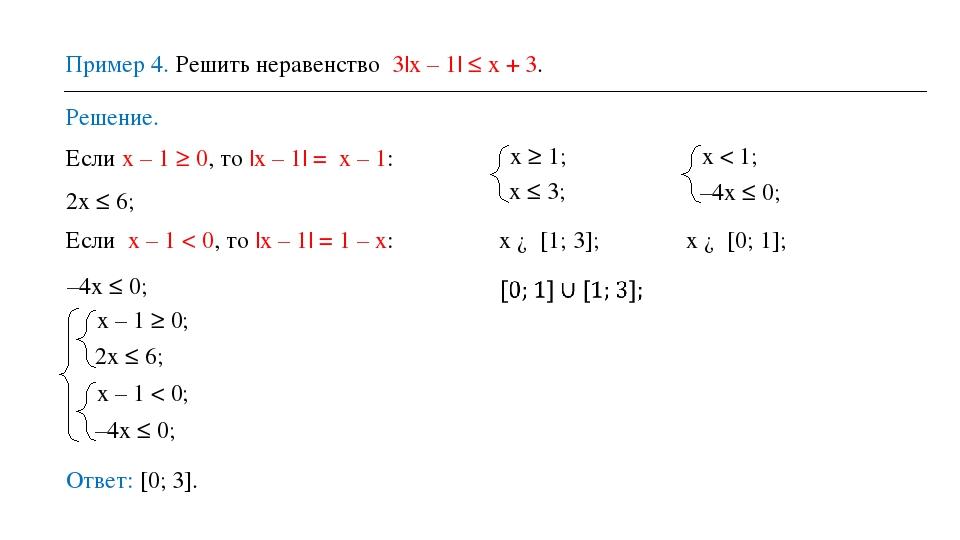 Пример 4. Решить неравенство 3|x – 1| ≤ x + 3. Решение. Ответ: [0; 3]. Если х...