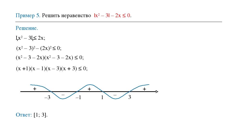 Пример 5. Решить неравенство |х2 – 3| – 2х ≤ 0. Решение. Ответ: [1; 3]. │х2 –...